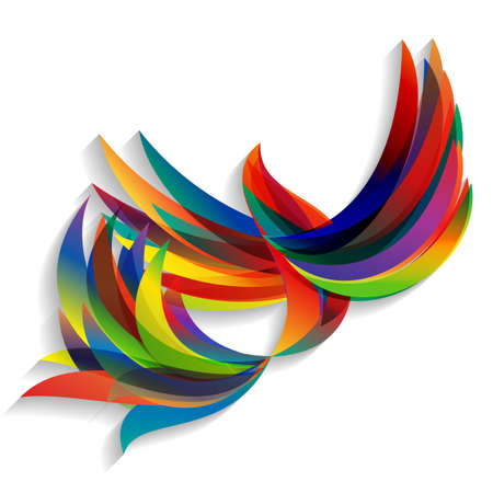 bird: Abstract colorful bird. Flying abstract colorful bird on a light background. Illustration
