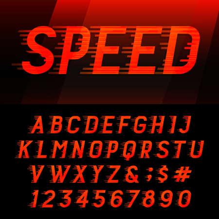 속도 알파벳 벡터 글꼴입니다. 모션 효과 문자, 숫자 및 기호. 헤드 라인, 포스터 등의 벡터 조판 일러스트