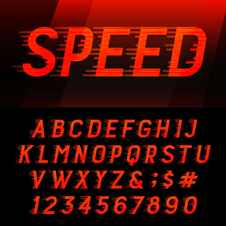 Speed alphabet vector font. Motion effect letters, numbers and symbols. Vector typeset for headlines, posters etc.