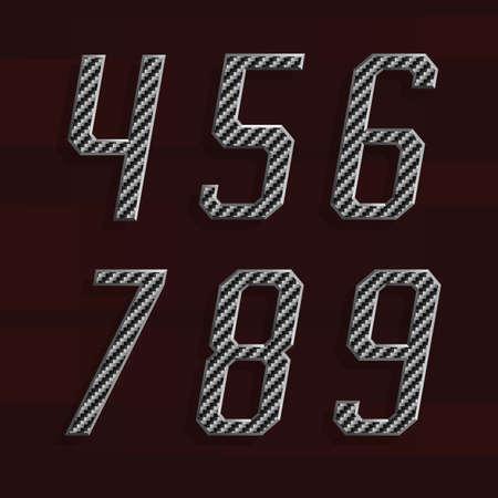 carbon fiber: Carbon fiber Alphabet Vector Font. Part 6 of 6. Numbers 4-9. Carbon fiber effect numbers with metal bevel. Vector typeset for headlines, posters etc.