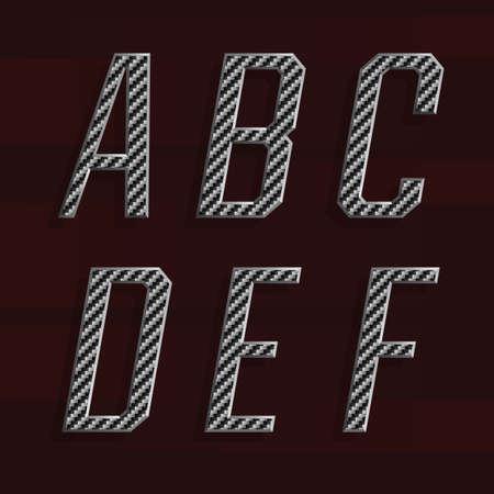 letras cromadas: La fibra de carbono del alfabeto vector de fuente. Parte 1 de 6. Las letras A - F. carbono letras efecto fibra con bisel de metal. Vector tipografía para los títulos, carteles, etc.