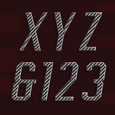 bevel: Carbon fiber Alphabet Vector Font. Part 5 of 6. Letters X, Y, Z and numbers 1, 2, 3. Carbon fiber effect letters with metal bevel. Vector typeset for headlines, posters etc.