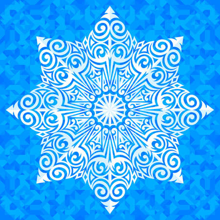 adorning: Vector ornamented snowflake on the blue symmetrical polygonal background.