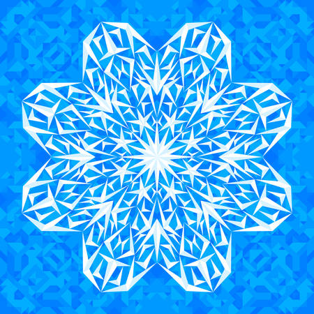 adorning: Vector snowflake on the blue symmetrical polygonal background.