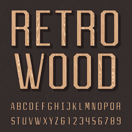sans: Wooden retro alphabet vector font. Sans serif type letters, numbers and symbols on the dark distressed background. Vintage vector typography for labels, headlines, posters etc.