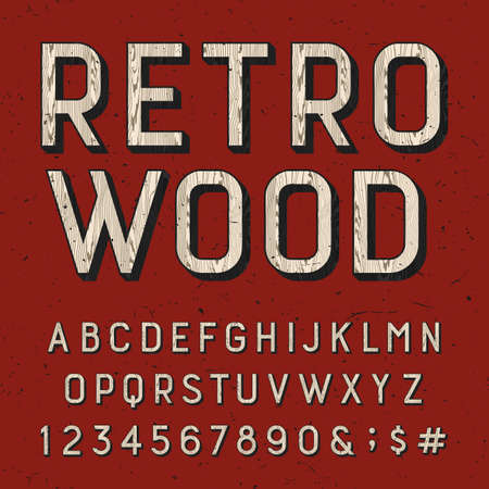 sans serif: Wooden retro alphabet vector font. Sans serif type letters, numbers and symbols on the red distressed background. Vintage vector typography for labels, headlines, posters etc. Illustration