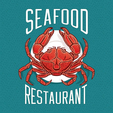 hardshell: Vector illustration of crab on a plate in vintage style. Seafood Restaurant   emblem template.