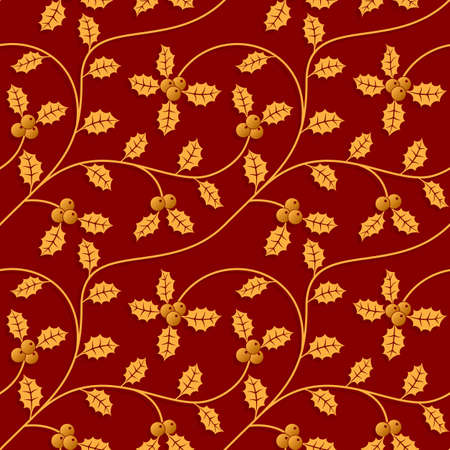 Christmas seamless pattern with holly leaves.