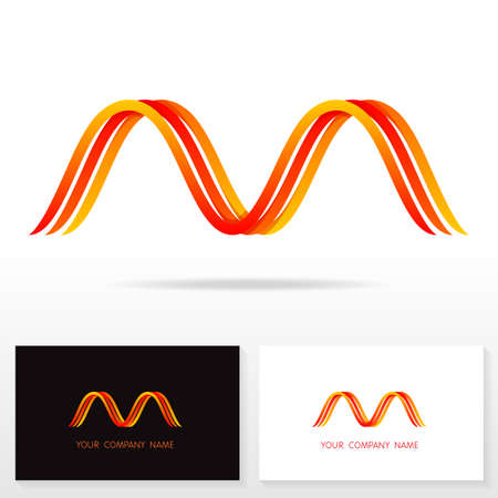 Letter M logo design vector sign - Stock vector. Business card templates.