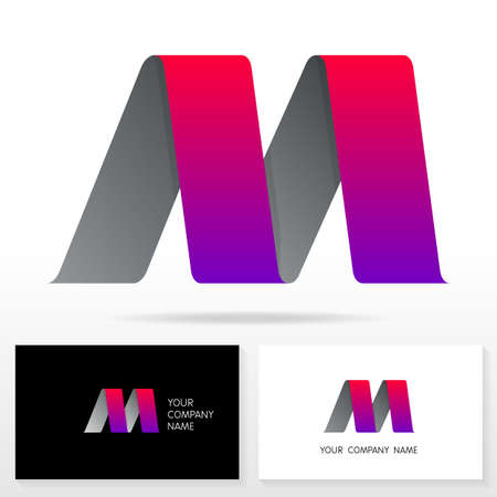 letter m: Letter M logo design - vector sign. Business card templates.