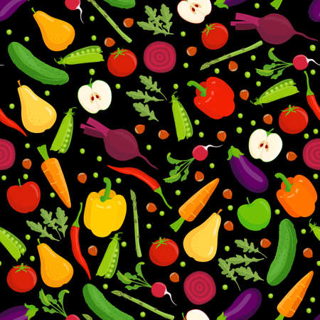diabetes food: Organic food seamless pattern. Vector fruit and vegetables on a black background. Illustration