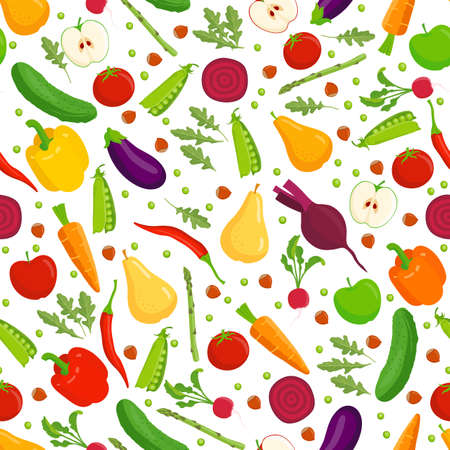 Organic food seamless pattern. Vector fruit and vegetables on a white background.