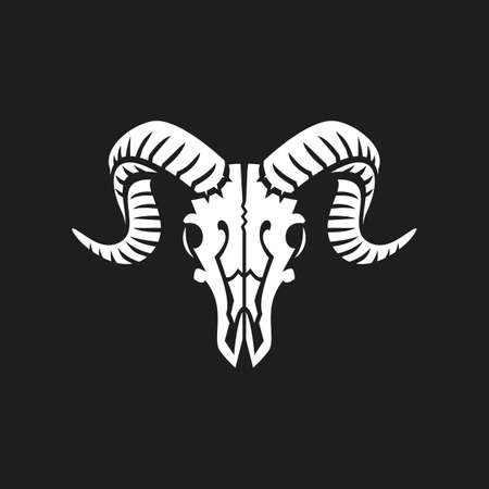 Ram skull logo or icon white on black