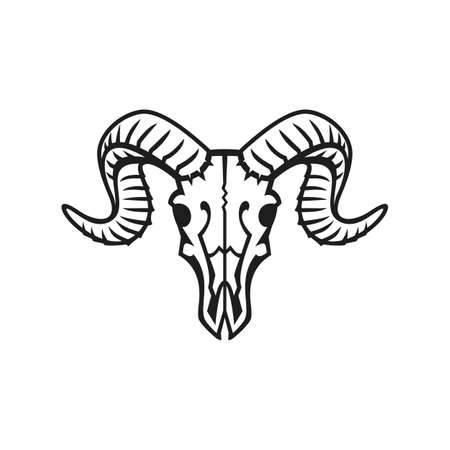 borrego cimarron: Logotipo del cráneo del espolón o icono negro en blanco. Vectores