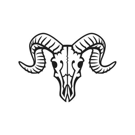 Ram schedel logo of pictogram zwart op wit. Stock Illustratie