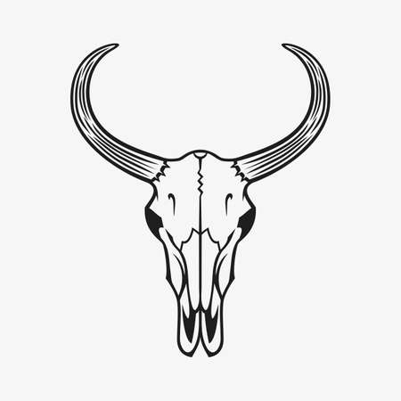 Bull skull vector illustration. Black on white.