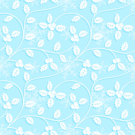 omela: Christmas seamless pattern with snowflakes and holly leaves in light-blue colors