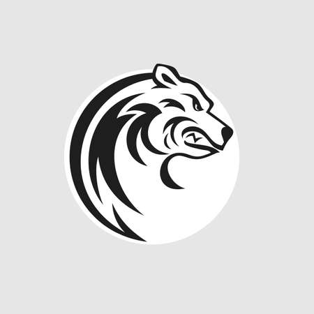 angry bear: Bear head logo or icon in black and white. Vector illustration.