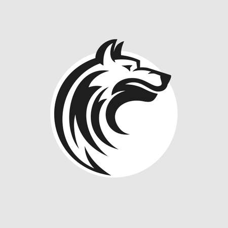shaggy dog: Wolf head  icon in black and white. Vector illustration.