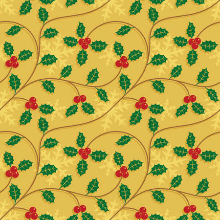 Christmas seamless pattern with snowflakes and holly leaves.