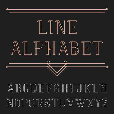 headlines: Line alphabet vector font. Decorative letters in trendy outline style. Vector typeset for headlines, posters etc.