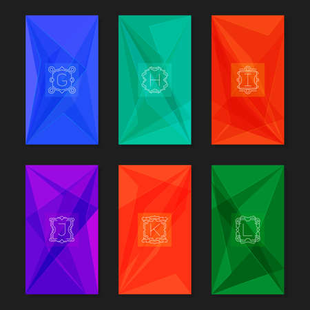 letter k: Collection of trendy geometric triangular backgrounds with letter monograms G, H, I, J, K, L. Abstract geometric vector backgrounds. Illustration