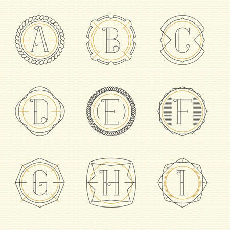 letter e: Vector set of monogram  emblem templates in trendy outline style. Letters A - I.