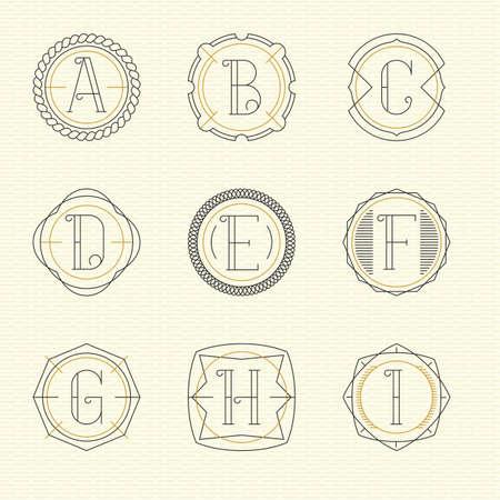 letter i: Vector set of monogram  emblem templates in trendy outline style. Letters A - I.