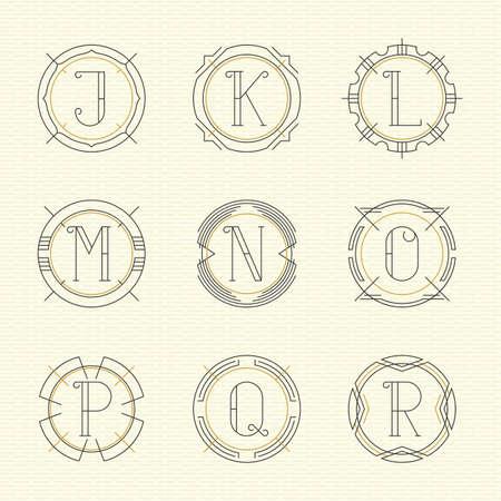 ornate frames: Vector set of monogram emblem templates in trendy outline style. Letters J - R. Illustration