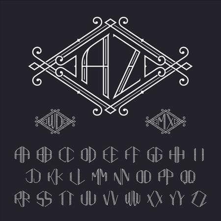 Twee brieven monogram template. Elegant vector set van stijlvolle monogrammen. Outline letters van A tot Z.