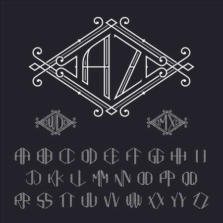 Two letters monogram template. Elegant vector set of stylish monograms. Outline letters from A to Z. Çizim