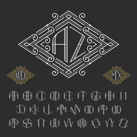 retro type: Two letters monogram template. Luxury vector set of stylish monograms. Letters from A to Z. Illustration