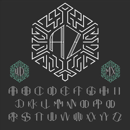 luxury template: Two letters monogram template. Stylish vector set of ornate monograms. Outline style letters from A to Z.