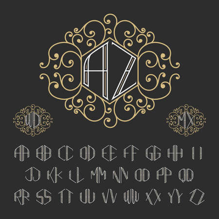 art deco border: Two letters decorative monogram template. Stylish vector set of monograms. Outline style letters from A to Z.
