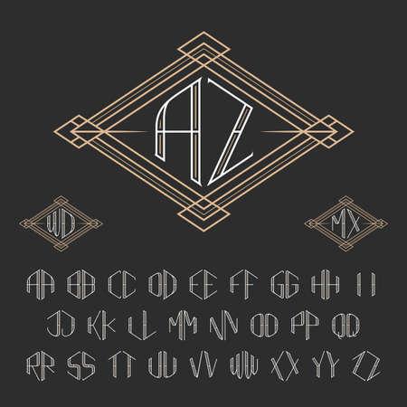 두 글자 장식 모노그램 템플릿입니다. 우아한 벡터 집합이 모노그램. A에서 Z까지의 스타일 문자 개요.