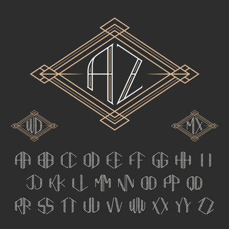 crest: Two letters decorative monogram template. Elegant vector set of monograms. Outline style letters from A to Z.