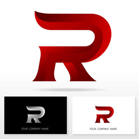 vector web design elements: Letter R logo design. Business vector sign. Business card templates.