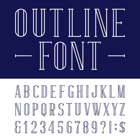 serif: Decorative alphabet vector font in trendy outline style.