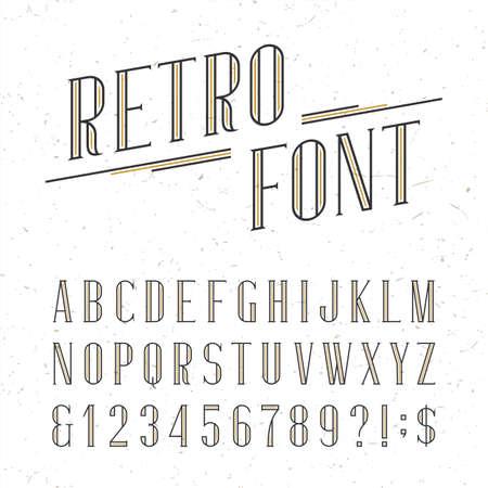 Decoratieve retro alfabet vector lettertype. Serif soort letters, cijfers en symbolen op de witte achtergrond met verontruste overlay textuur. Stock vector typografie voor etiketten, koppen, posters etc.