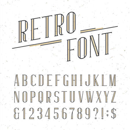 Decorative retro alphabet vector font. Serif type letters, numbers and symbols on the white background with distressed overlay texture. Stock vector typography for labels, headlines, posters etc.
