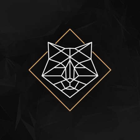 to polygons: El jefe del icono del zorro - ilustración vectorial. La cabeza de zorro en líneas de estilo de bajo poli en el fondo geométrico abstracto oscuro. Vectores