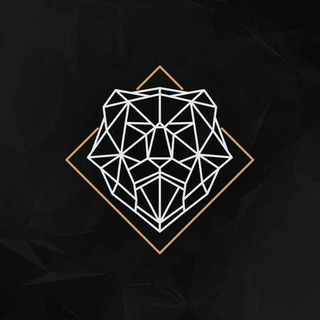 poligonos: El león cabeza logo Icono - ilustración vectorial. La cabeza de león en líneas de estilo de bajo poli en el fondo geométrico abstracto oscuro.