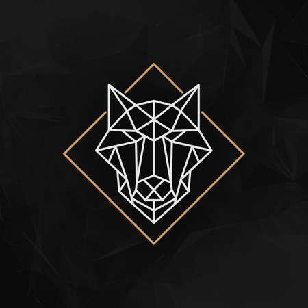 poligonos: El jefe del icono del lobo - ilustración vectorial. La cabeza de lobo en contorno estilo bajo poli en el fondo geométrico abstracto oscuro.