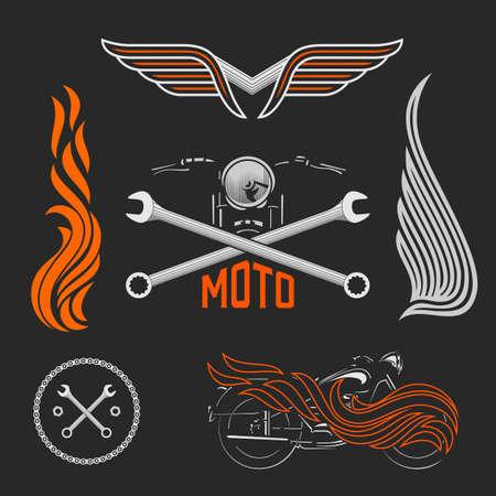 bicicleta vector: Vintage logotipos del vector de la motocicleta, emblemas, plantillas, etiquetas, símbolos y elementos de diseño de la moto.