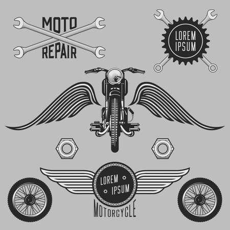 vector wheel: Vintage vector motorcycle logos, emblems, labels, symbols and design elements.