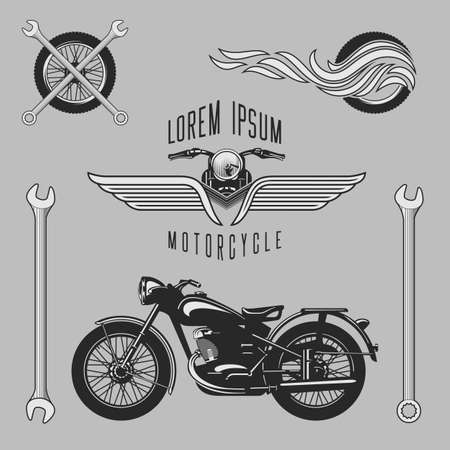 motorcycle racing: Vintage motorcycle logos, emblems, templates, labels, symbols and motorbike design elements. Stock vector.