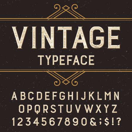 abecedario: Alfabeto fuente de vector Vintage con angustiada superposici�n de texturas. Escriba letras, n�meros y s�mbolos en un fondo oscuro. Stock vector de tipo de letra para etiquetas, t�tulos, carteles, etc. Vectores