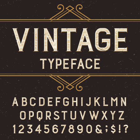 alphabetical letters: Vintage alphabet vector font with distressed overlay texture. Type letters, numbers and symbols on a dark background. Stock vector typeface for labels, headlines, posters etc.