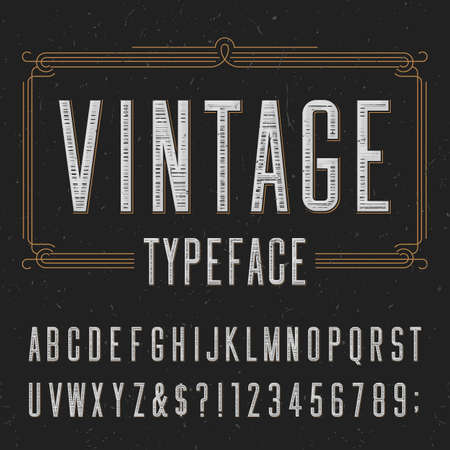 Vintage typeface with scratched overlay texture. Type letters, numbers and symbols on a dark background. Alphabet vector font for labels, headlines, posters etc.