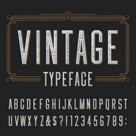 retros: La tipografía del vintage con rascó la textura de superposición. Escriba letras, números y símbolos en un fondo oscuro. Fuente vectorial Alfabeto para etiquetas, títulos, carteles, etc.